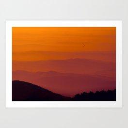 Hot air balloon at sunrise Art Print
