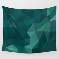 polygon Wall Tapestries featuring Green Polygon by artsimo