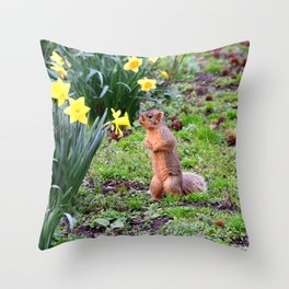 Flower-sniffing squirrel 2 Throw Pillow