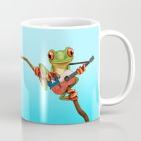 chile Mugs featuring Tree Frog Playing Acoustic Guitar with Flag of Chile by Jeff Bartels