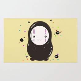 Spirited Away No Face Kawaii With Soot Sprites Rug
