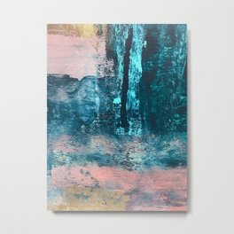 Wishes: an abstract mixed-media piece in blues, pink, and gold Metal Print