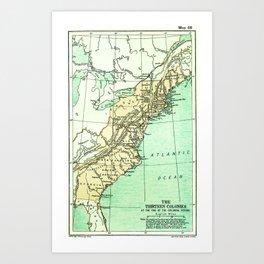Vintage American Colonies Map - 1775 Art Print
