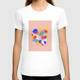 Keep Growing - Tropical plant on peach T-shirt