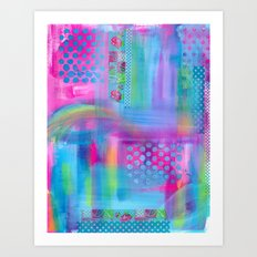 Pink with Blue Dots Art Print