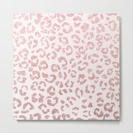 Faux pink glitter leopard pattern illustration on pink lace Metal Print