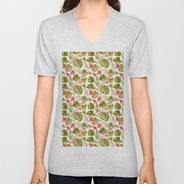 Tropical blush pink green modern vector floral pattern Unisex V-Neck