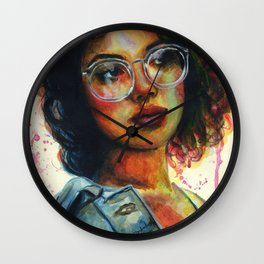 Girl in glasses Wall Clock