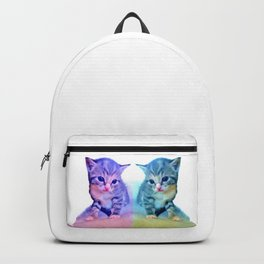Cute Colorful Cat Couple Backpack