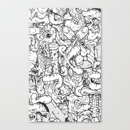 Alphabetcha Collage b&w Canvas Print