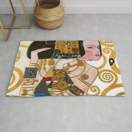 Expectations of the Heart portrait female form jewel painting by Gustav Klimt Rug