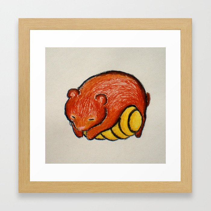 Sleepy Bear Cute Nursery Art Children S Room Brown Orange Yellow Oil Pastel Framed Print By Champaka Society6