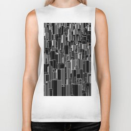 Tall city B&W inverted / Lineart city pattern Biker Tank