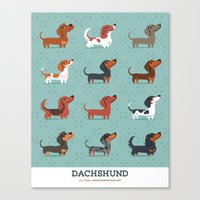 dachshund Canvas Prints featuring DACHSHUND by DoggieDrawings