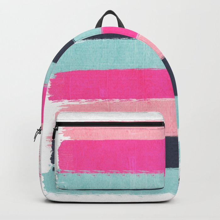 Abstract minimal painted stripes pattern basic nursery gender neutral decor gifts Backpack