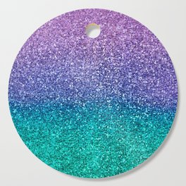 Lavender Purple & Teal Glitter Cutting Board