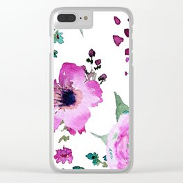 Poppies Roses Wildflowers Fushia Clear iPhone Case