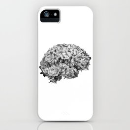 flower brain black and white iPhone Case