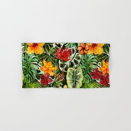 Tropical Vintage Exotic Jungle Flower Flowers - Floral watercolor pattern Hand & Bath Towel