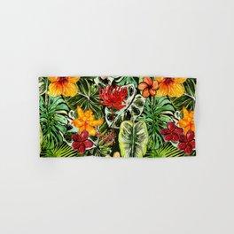 Tropical Vintage Exotic Jungle Flower Flowers - Floral watercolor pattern Hand & Bath Towel