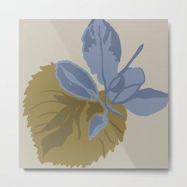 green & blue leaf illustration Metal Print