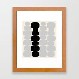 Abstraction_Balance_ROCKS_BLACK_WHITE_Minimalism_001 Framed Art Print