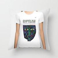 vonnegut Throw Pillows featuring Vonnegut - Canary in a Cat House by Neon Wildlife