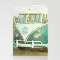 vw bus Stationery Cards featuring Vintage VW Beach Bus by Lauri Andrews