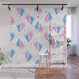 Pink and Blue Colored Baby Foot Prints With Confetti and Balloons Pattern Wall Mural
