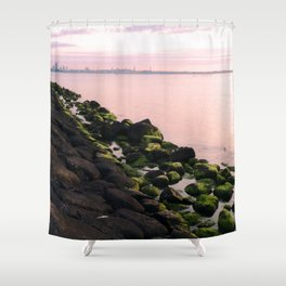 Green Stones and Skyline Shower Curtain