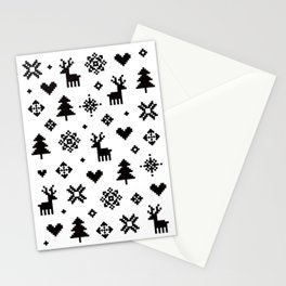 PIXEL PATTERN - WINTER FOREST Stationery Cards