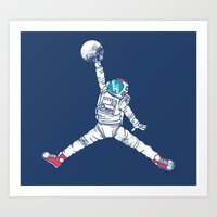 artsy Art Prints featuring Space dunk by Steven Toang