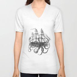 Octopus Kraken attacking Ship Antique Almanac Paper Unisex V-Ausschnitt