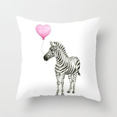 Zebra with Balloon Animal Watercolor Whimsical Animals Throw Pillow