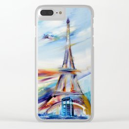 TARDIS IN RAINBOW TOWER Clear iPhone Case
