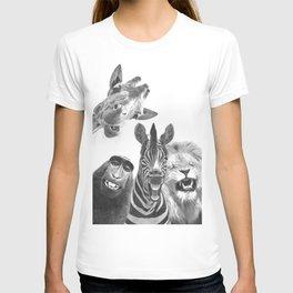 Black and White Jungle Animal Friends T-shirt