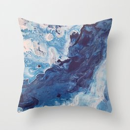 Restless Waters Blue Throw Pillow