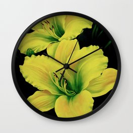 Yellow Lily Flowers Wall Clock