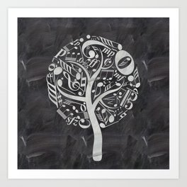Music tree on chalkboard Art Print
