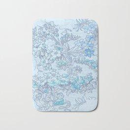 "Alphonse Mucha ""Anemones, Apple Blossoms and Narcissi"" (edited blue) Bath Mat"