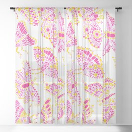 Butterfly Pattern Pink Gold White Sheer Curtain