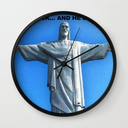 Redemption Jesus and Guns Wall Clock