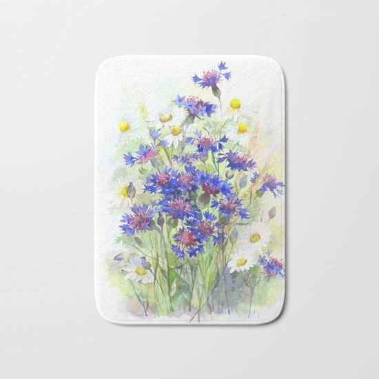Meadow watercolor flowers with cornflowers Bath Mat