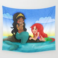 mermaids Wall Tapestries featuring OUAT - Mermaids by Choco-Minto