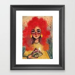 Golden mushroom Framed Art Print