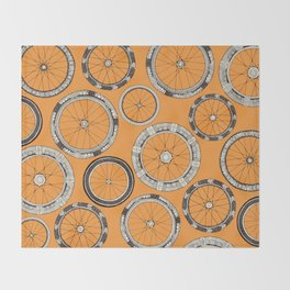 bike wheels amber Throw Blanket