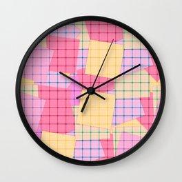 Yellow pink plaid Wall Clock