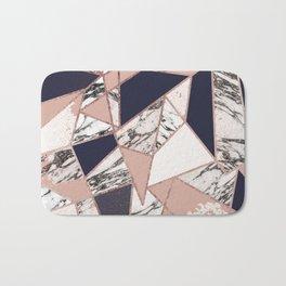 Geometric Navy Blue Peach Marble Rose Gold Triangle Bath Mat