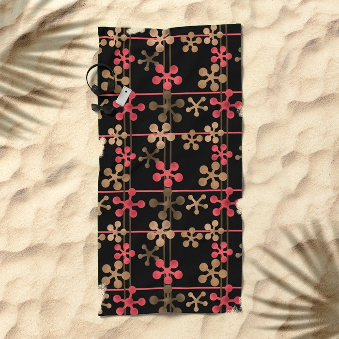 Abstract pattern in black red and brown tones . Beach Towel