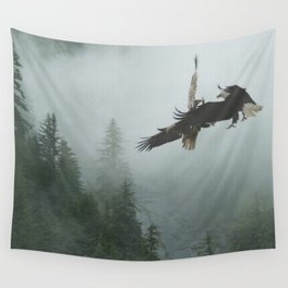 Battle for the Cedars - Bald Eagles Wildlife Scene Wall Tapestry